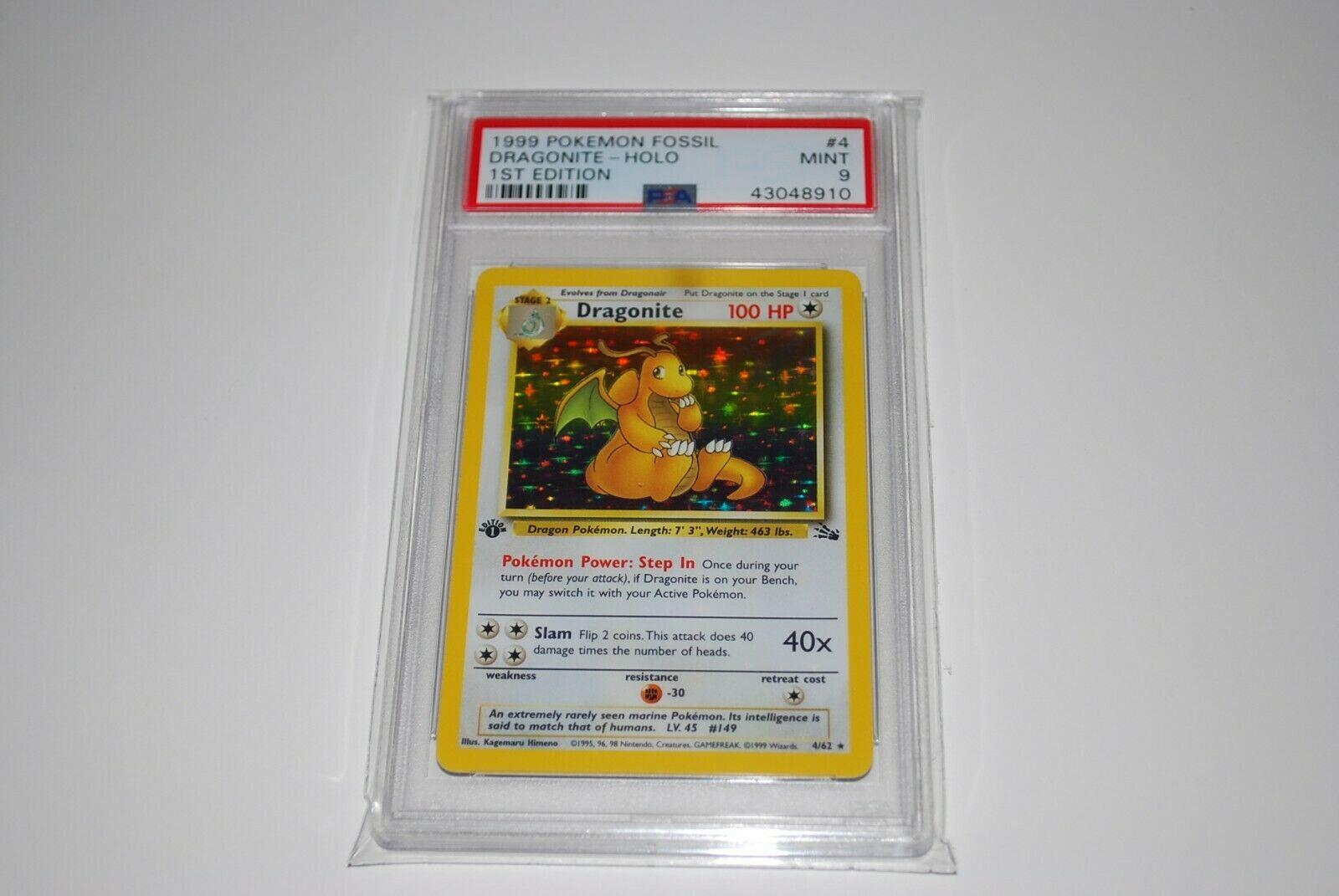 PSA 9 Mint 1st Edition Dragonite Holo 462 Fossil  Pokemon Card 1999