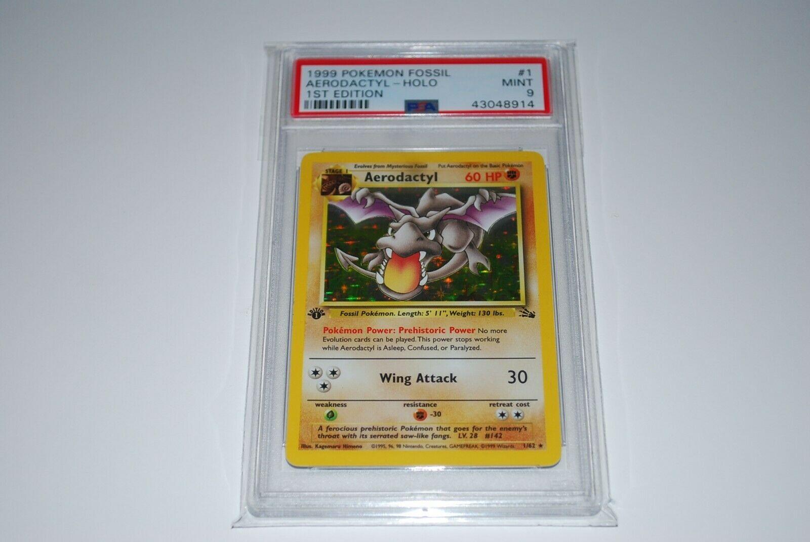 PSA 9 Mint 1st Edition Aerodactyl Holo 162 Fossil  Pokemon Card 1999