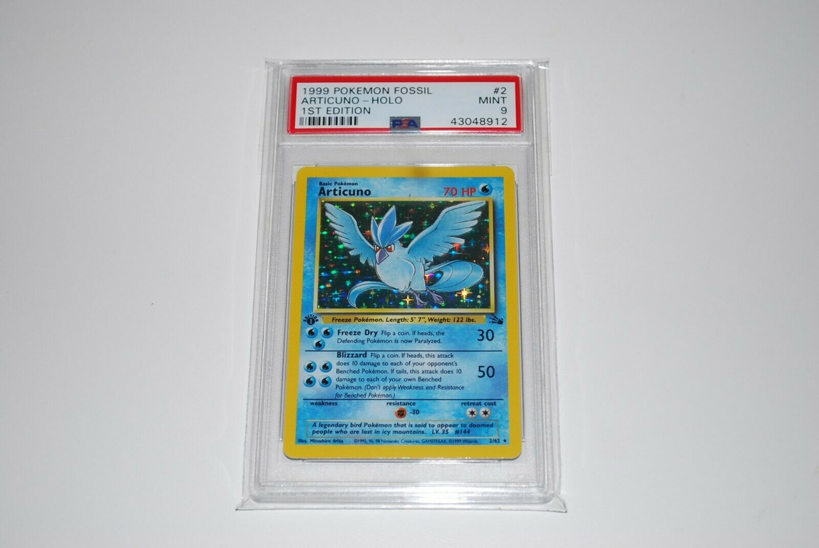 PSA 9 Mint 1st Edition Articuno Holo 262 Fossil  Pokemon Card 1999
