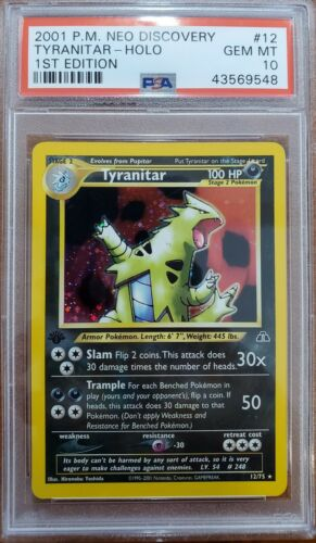 PSA 10 Gem Mint Tyranitar 1st Edition 1275 Neo Discovery Holo Pokemon Card