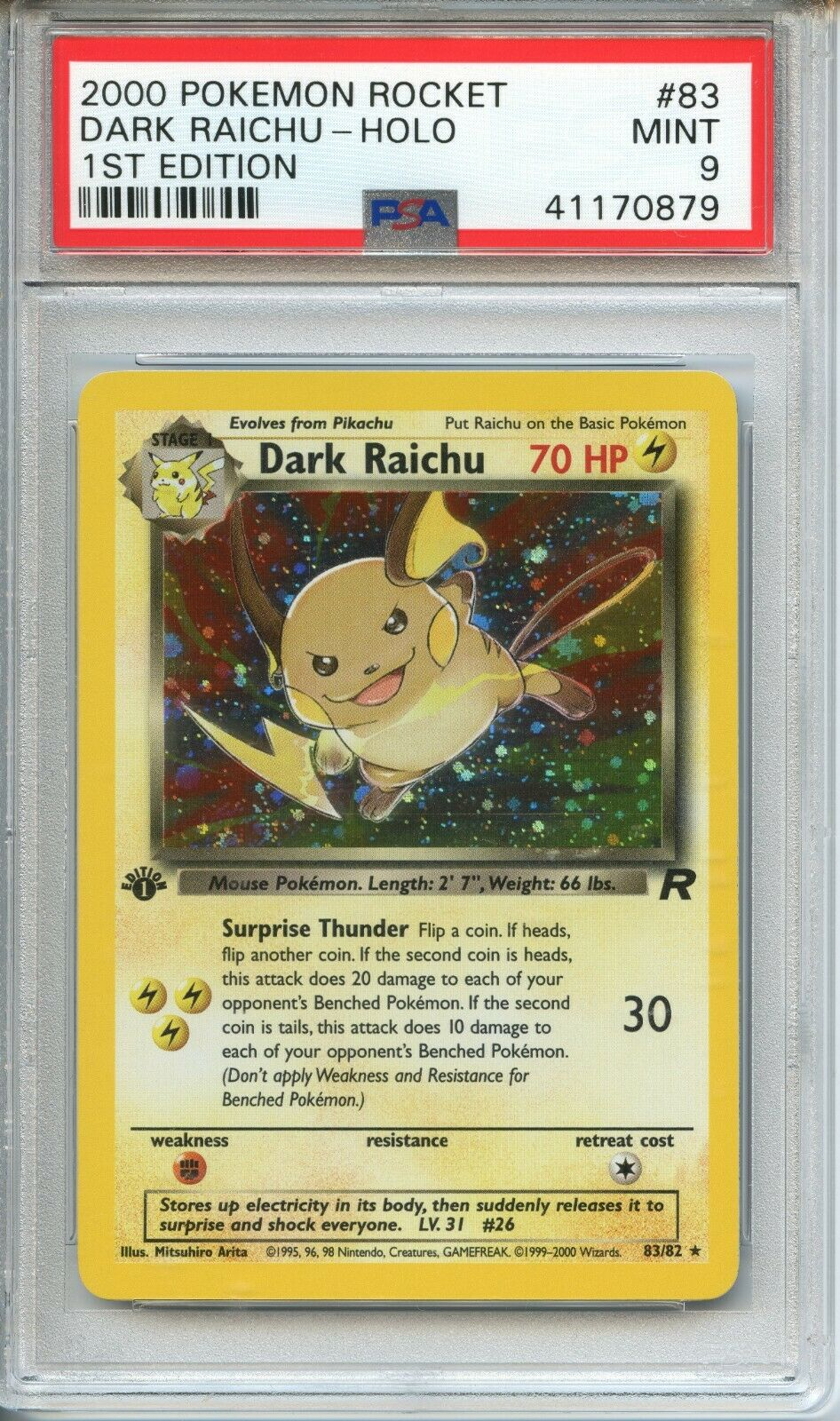 POKEMON PSA 9 MINT DARK RAICHU 1ST EDITION TEAM ROCKET SECRET RARE