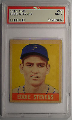 1948 Leaf Eddie Stevens SP 43 Card  PSA 7 Near Mint
