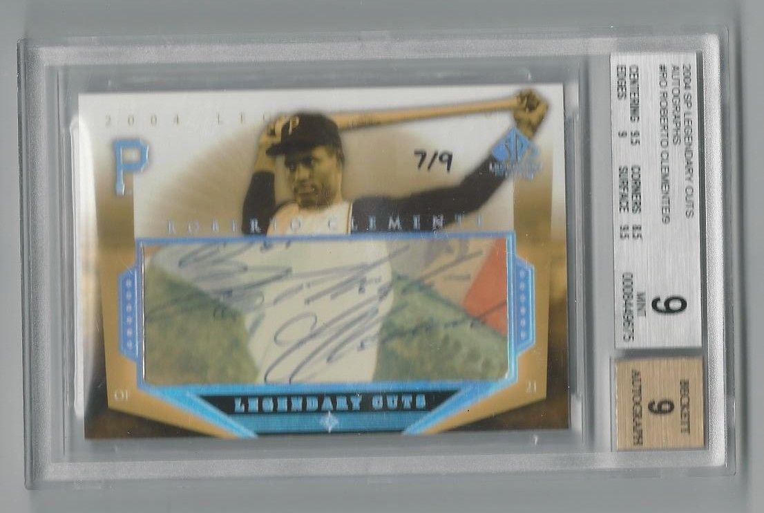 ROBERTO CLEMENTE 2004 SP LEGENDARY CUTS SIGNATURE AUTO 79 BGS 9 MINT  AUTO 9