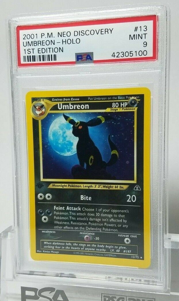 PSA 9 Mint Umbreon 1st Edition 1375 Neo Discovery Holo 2000 Pokemon Card