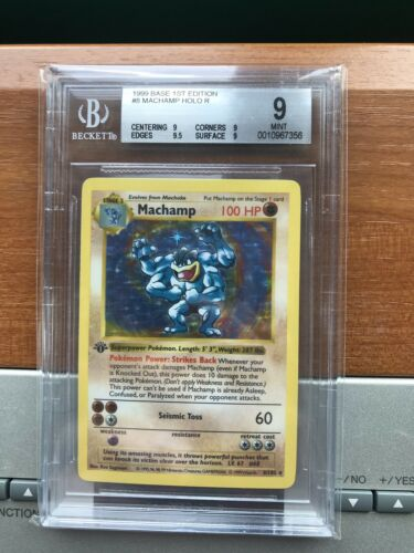 BGS 9 Mint 1st Edition Shadowless Machamp Holo 1999 Pokemon Card Game 8 PSA 9