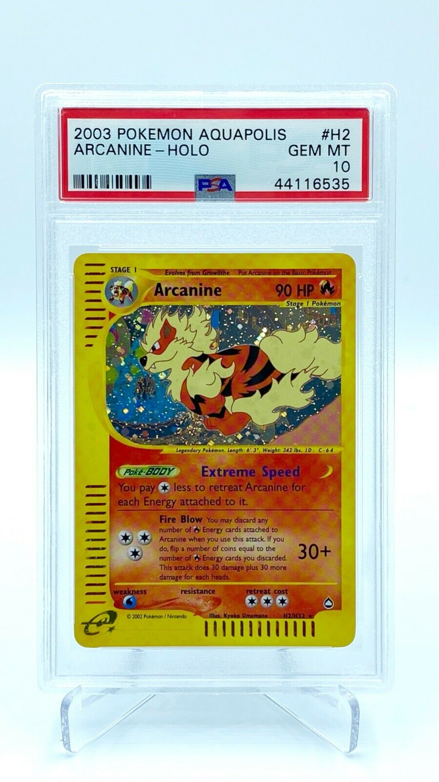Arcanine Holo PSA Gem Mint 10   Pokemon Card  Aquapolis