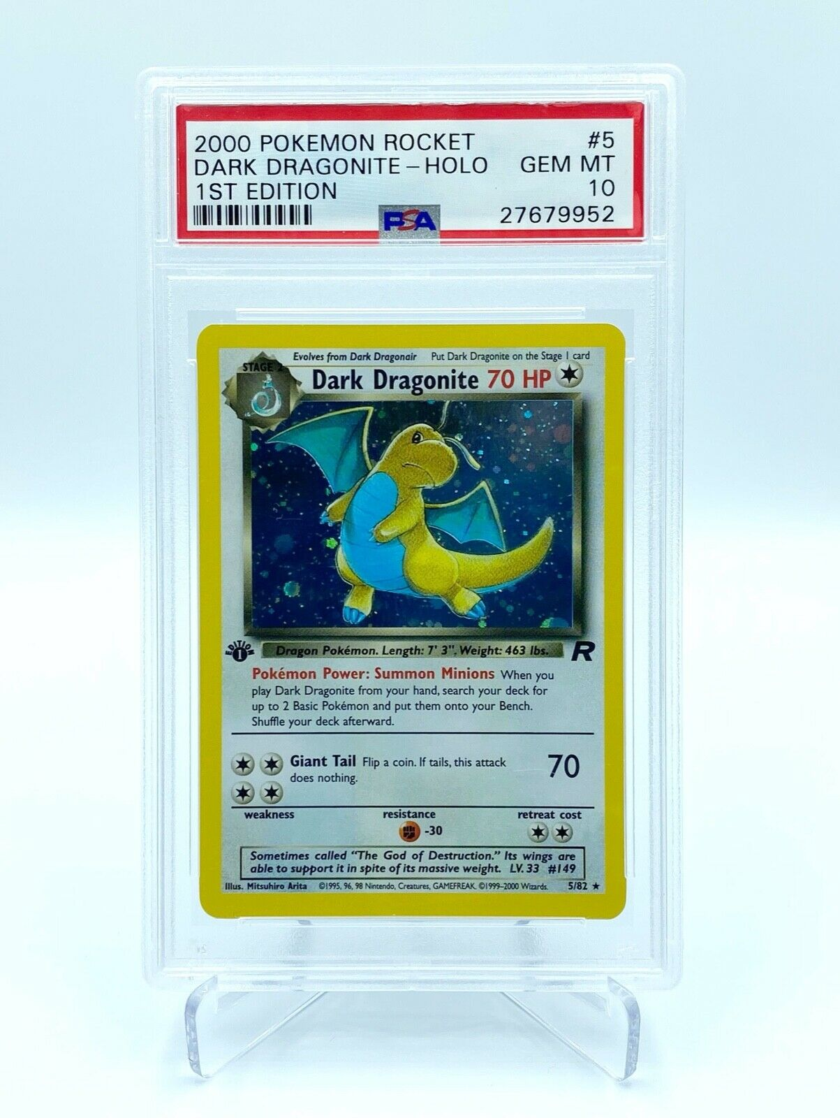 Dark Dragonite 1st Edition Holo PSA Gem Mint 10  Pokemon Card  Team Rocket