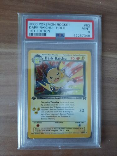 Pokemonkarte Dark RaichuDunkles Raichu Holo Rocket 1 Edition PSA 9