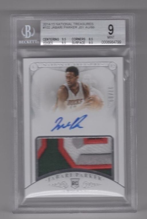 201415 National Treasures RPA RC Rookie Auto Patch Jabari Parker 3799 BGS 9 10