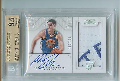 Klay Thompson 201213 National Treasures Rookie Patch Auto RPA BGS 95 SP 199