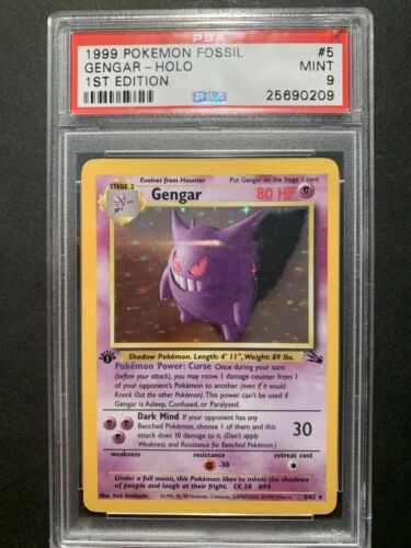 PSA 9 MINT 1st Edition Gengar 562 Fossil Pokemon Card Holo Rare WOTC First