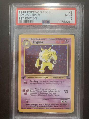 PSA 9 MINT 1st Edition Hypno 862 Fossil Pokemon Card Holo Rare WOTC First