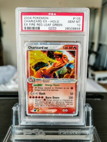 PSA 10 Charizard EX Fire Red Leaf Green Gem Mint Holo Pokemon Card 105112