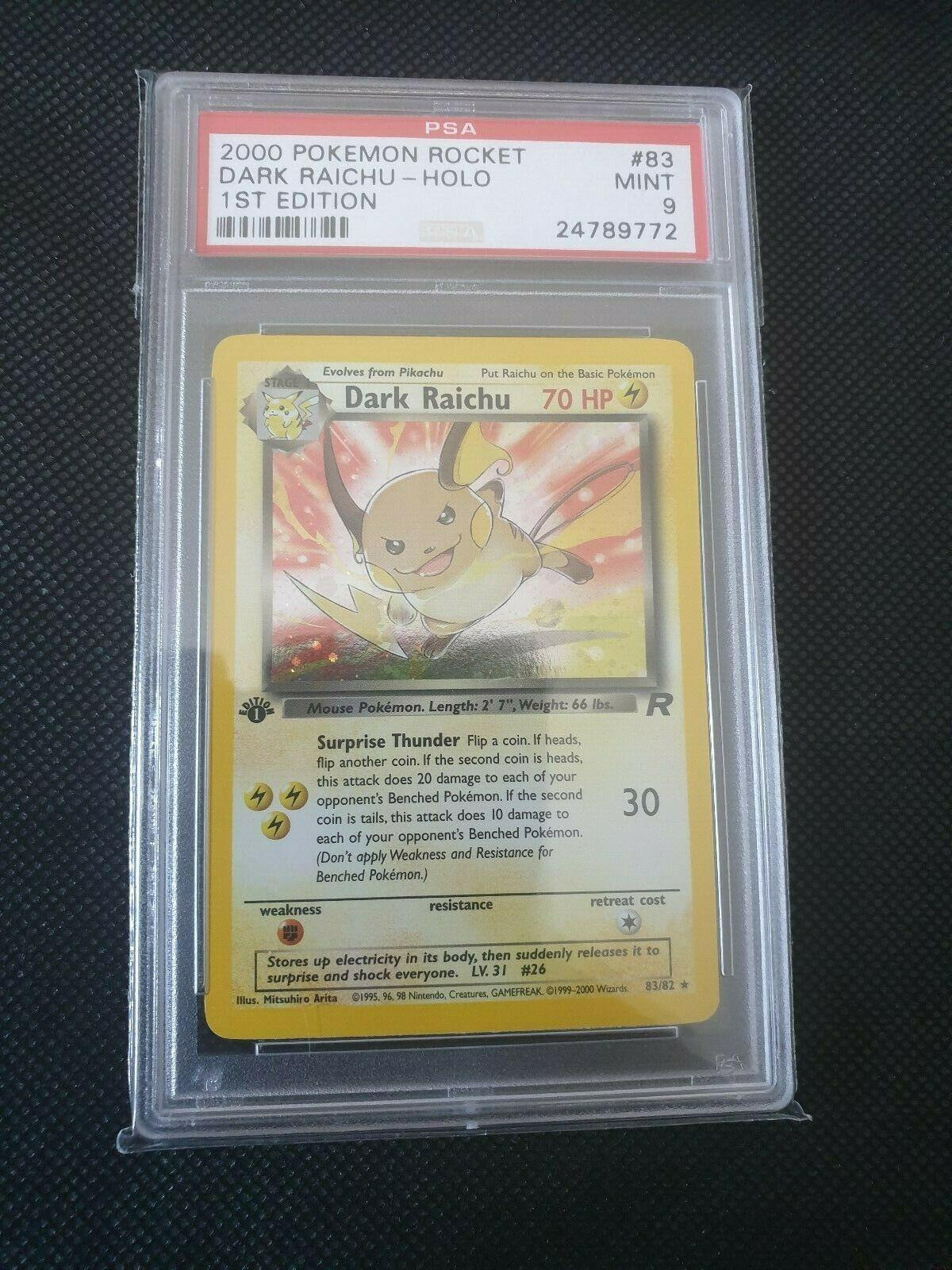 Pokemon Team Rocket Dark Raichu Holo 1st Edition Psa 9 Secret Rare 8382