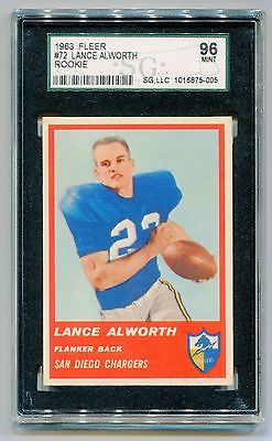 1963 Fleer Lance Alworth 72 Rookie San Diego Chargers SGC 96 MINT  LOT25