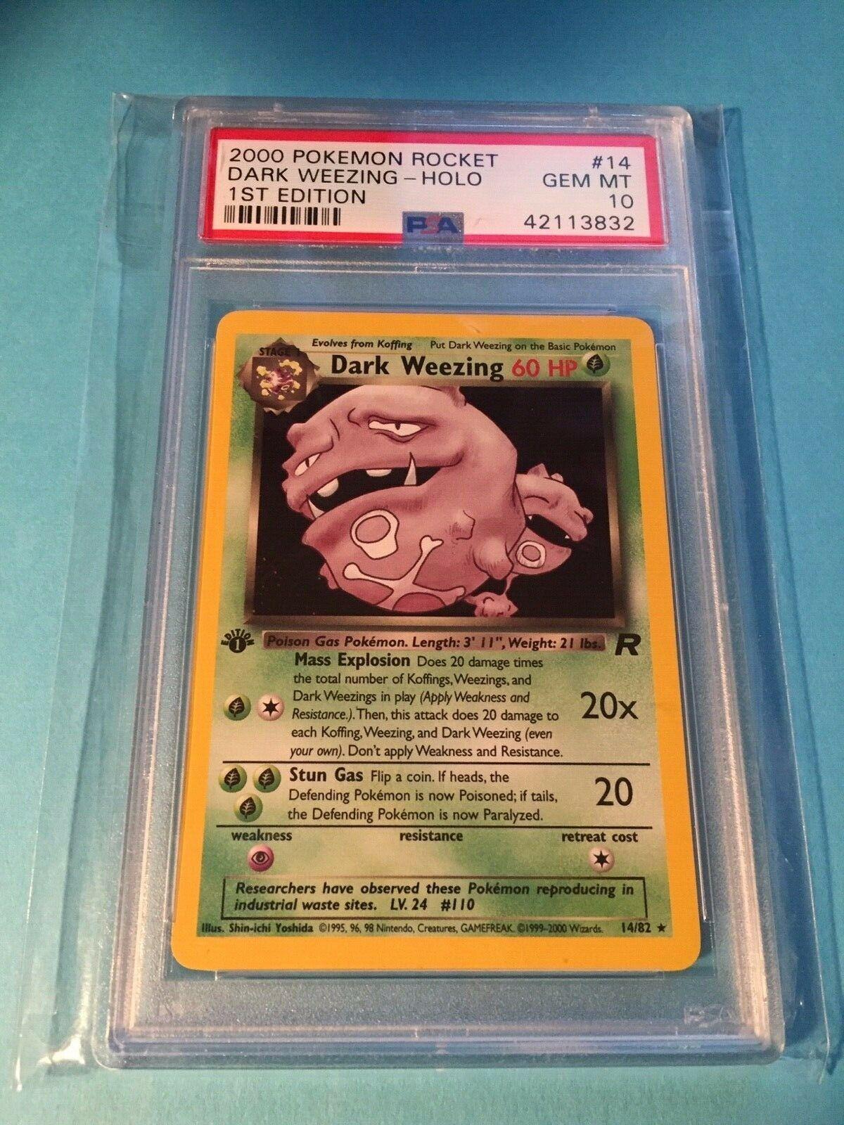 2000 Pokemon Rocket Dark Weezing 14 HOLO 1st Ed  PSA 10 Graded Card