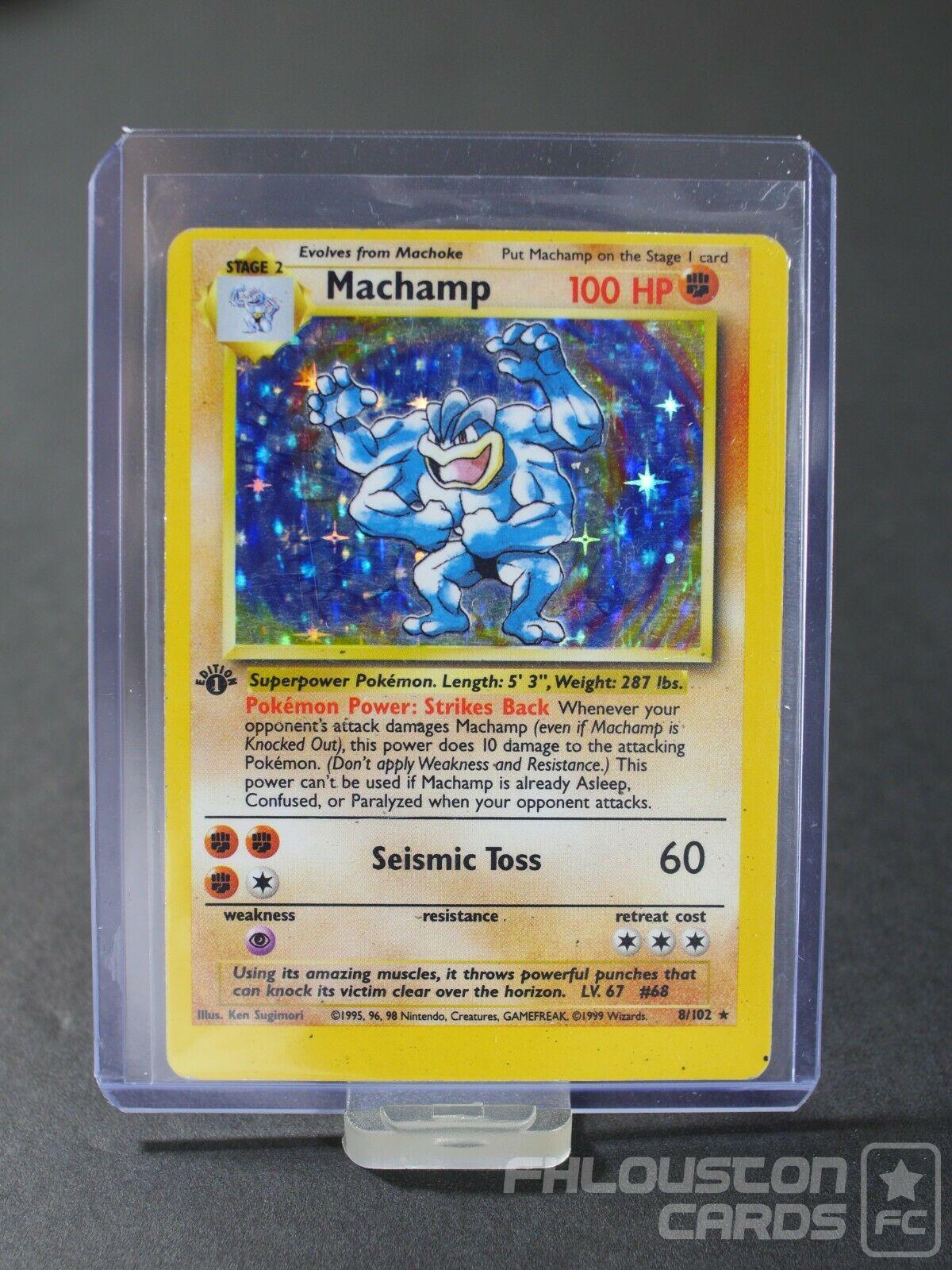 Very Miscut Machamp Holo 1st Edition 8102 Misprint Rare Pokemon Card