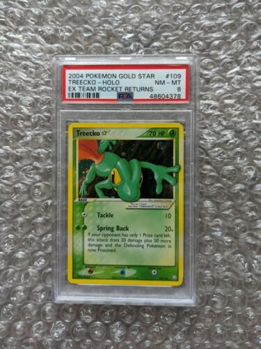 2004 Pokemon EX Team Rocket Returns Gold Star Holo Treecko 109 PSA 8