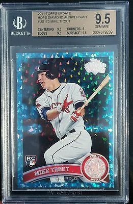 BGS 95 GEM MINT Mike Trout 2011 Topps Update HOPE DIAMOND ANNIVERSARY 160 RC