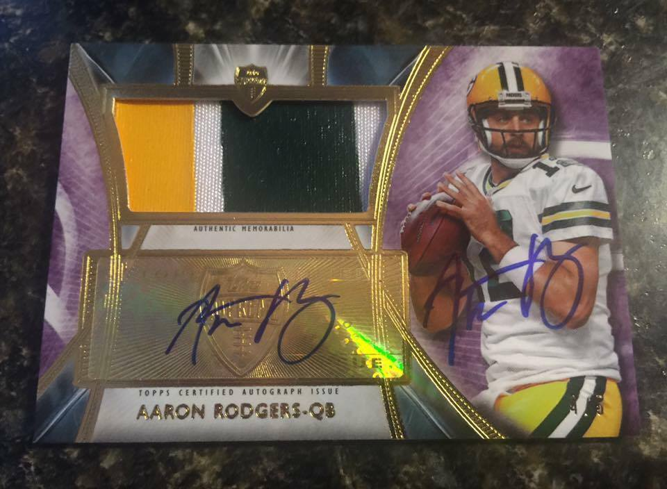 2014 Topps Supreme Aaron Rodgers Auto Autograph Patch 45 Double Signed RARE