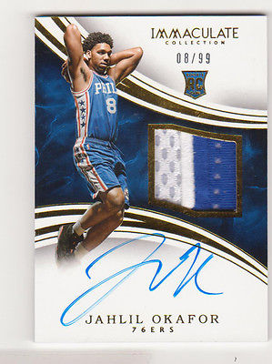 201516 Panini Immaculate Rookie Patch Auto RPA Jahlil Okafor 0899 Jersey