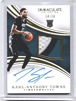 KARLANTHONY TOWNS RPA 3Color Patch AUTO 3499 Timberwolves 201516 Immaculate