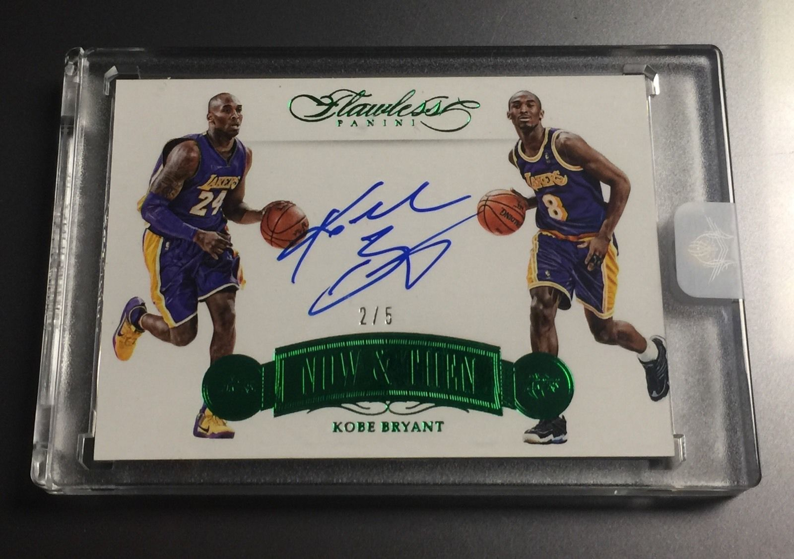 Kobe Bryant Flawless Now And Then Emerald Green Autograph 25 Auto Encased RARE