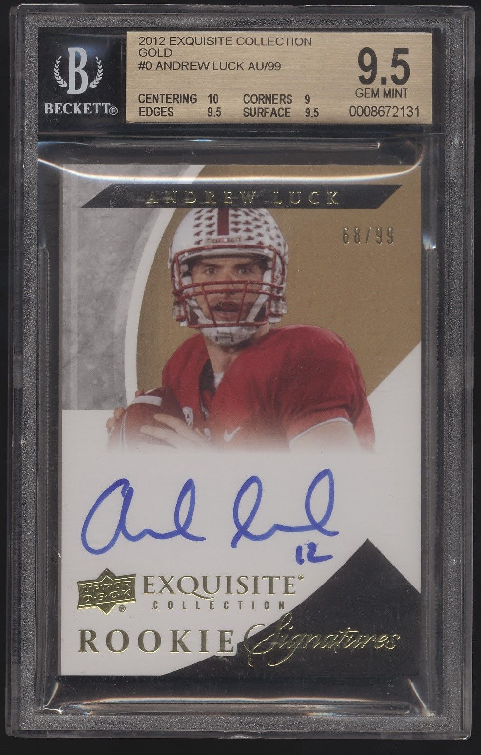 2012 UD Exquisite Andrew Luck Gold RC Auto Autograph 99 BGS 95 10