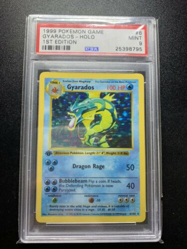 1999 Gyarados Pokemon Card Holo Shadowless 1st Edition Graded PSA 9 Mint RARE