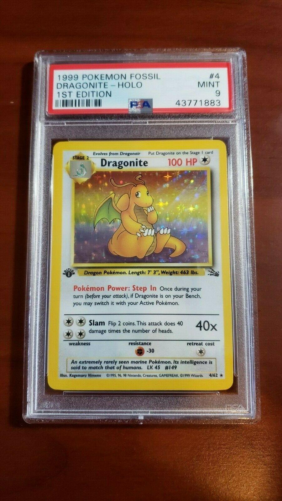 PSA 9 Mint Dragonite 1st edition Holo Fossil 1999 Pokemon Card 462
