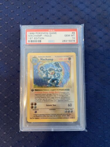 PSA 10 GEM MINT 1999 Machamp 1st Edition Pokemon Card 8102   S61