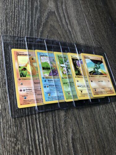Pokemon Card 1st Edition Shadowless Charmander Pikachu Squirtle Bulbasaur Machop