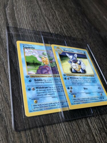 Pokemon Cards 1st Edition Shadowless Squirtle  Wartortle Free Card Included