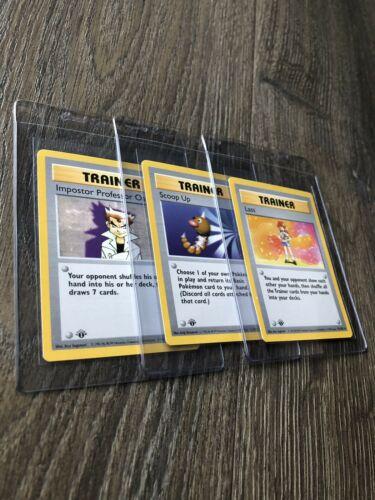 Pokemon Card 1st Edition Shadowless Trainer Lass Scoop Up Impostor Professor Oak