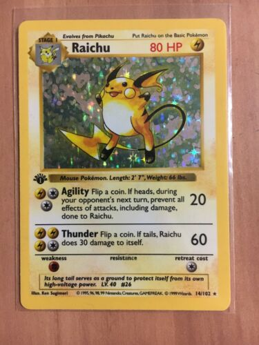 Pokemon Raichu 1st Edition Holo card 14102