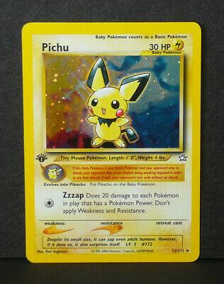 Pokemon 1st Edition Neo Genesis Holo Foil Pichu 12111 Card  Pack Fresh Mint