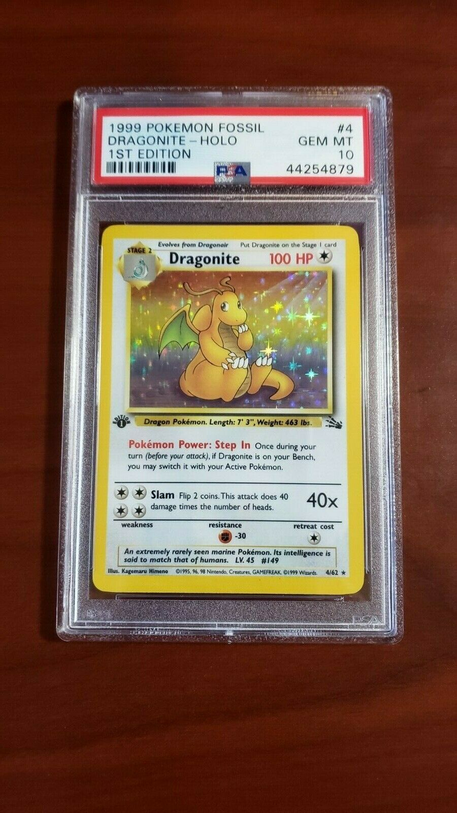 1999 Pokemon Fossil Dragonite 1st First Edition PSA 10 Card Holo GEM MINT