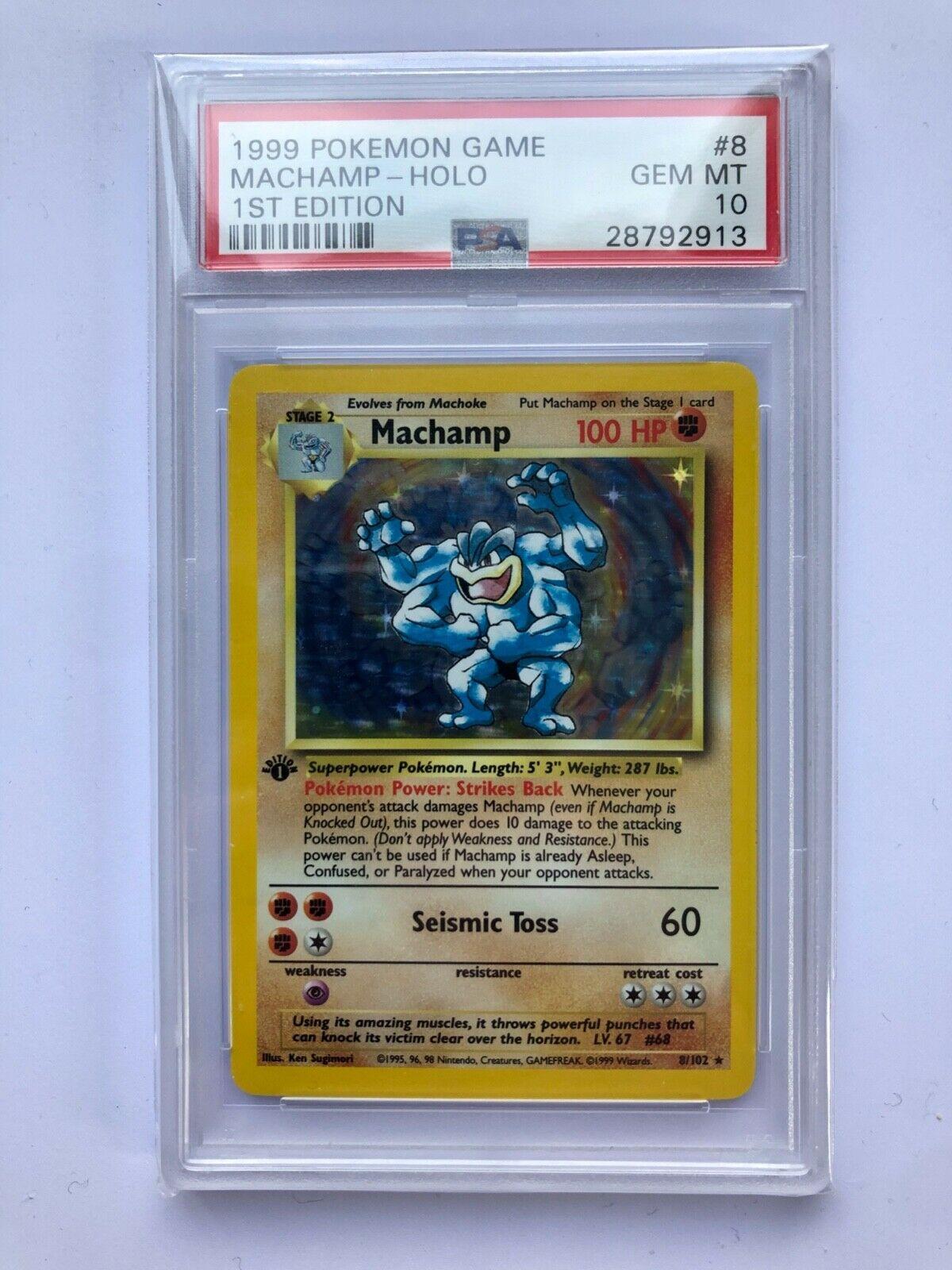 Pokemon Machamp 1999 1st edition holo 8102  PSA 10 Gem Mint