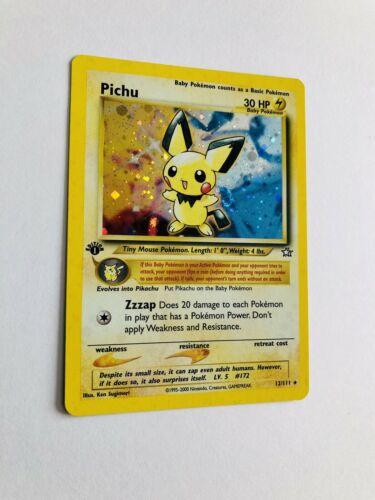 Mint 1999 1st Edition Neo Genesis Pichu Pokemon Card Holo Shiny Rare PSA