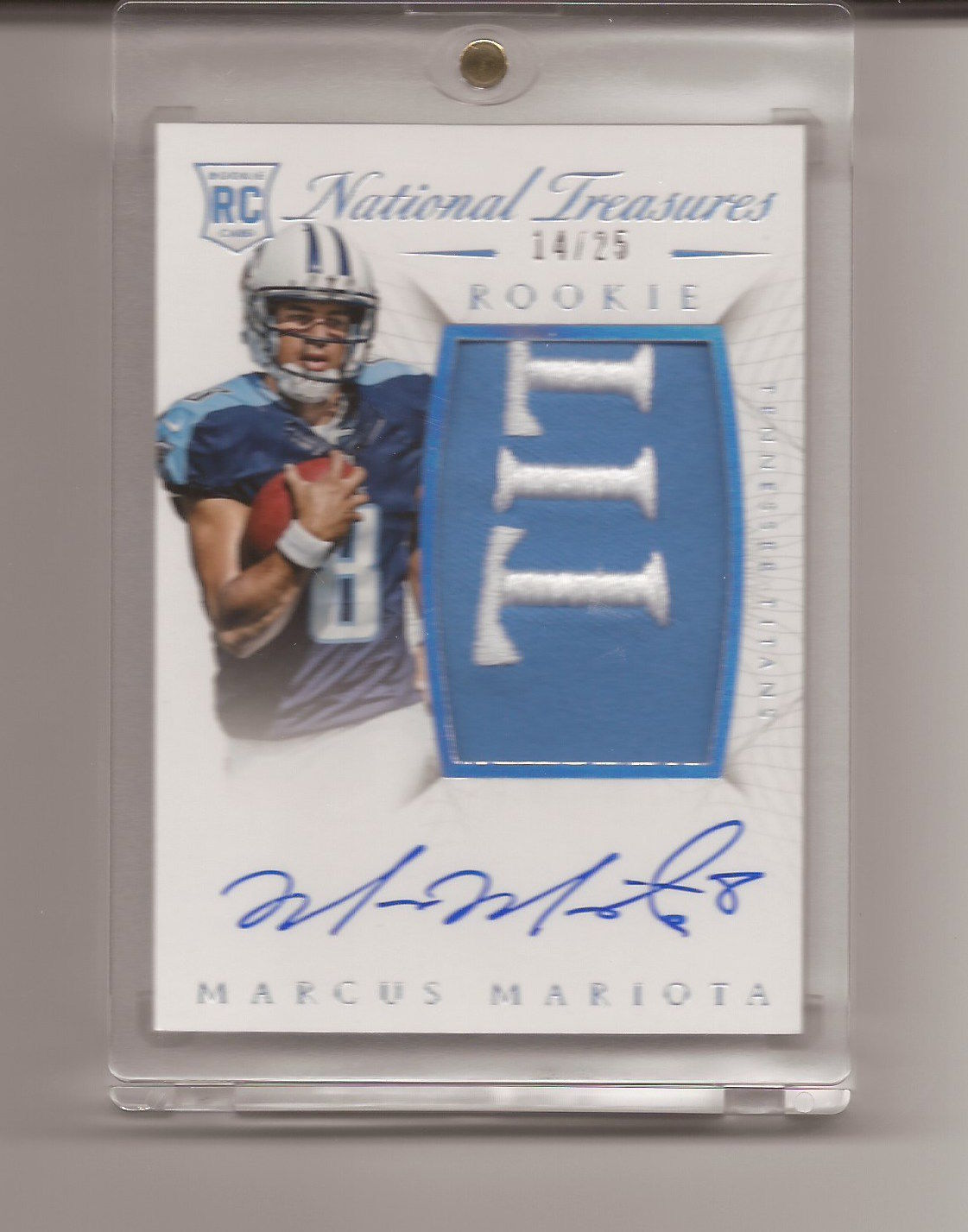 MARCUS MARIOTA 2015 PANINI NATIONAL TREASURES TIT PATCH ROOKIE RPA D 1425