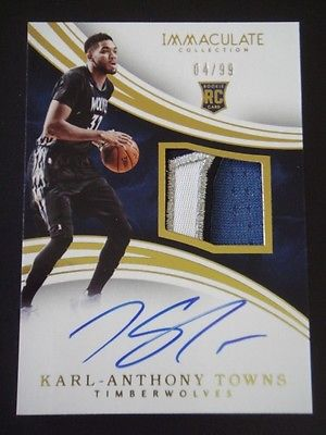201516 Panini Immaculate KarlAnthony Towns RPA RC Auto Patch 0499 WOLVES