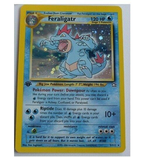 1st Edition Feraligatr 5111 Ultra Rare Holo Foil Pokemon Card Neo Genesis