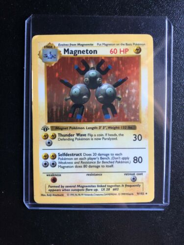 Pokemon Card Magneton 9102 1st Edition Shadowless