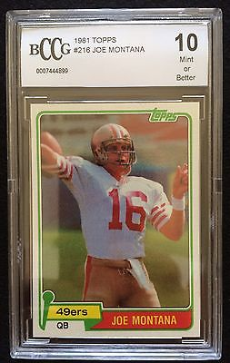 1981 Topps Joe Montana SF 49ers 216 Football Rookie Card RC BCCG 10 Mint