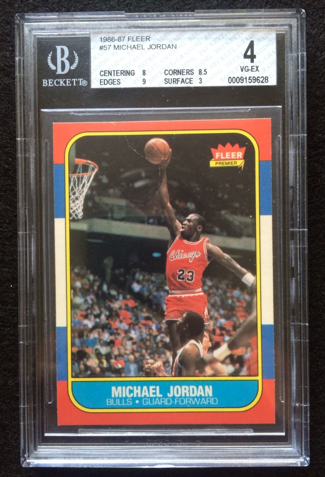 1986  1987 Fleer Michael Jordan Chicago Bulls 57 Basketball Rookie Card BGS 4