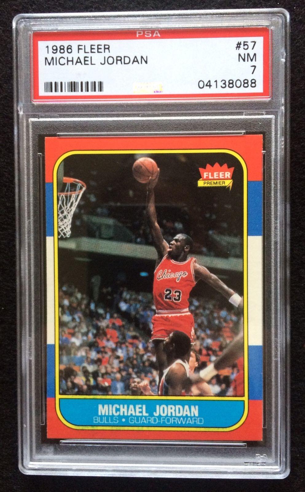 1986  1987 Fleer Michael Jordan Chicago Bulls 57 Basketball Rookie Card PSA 7