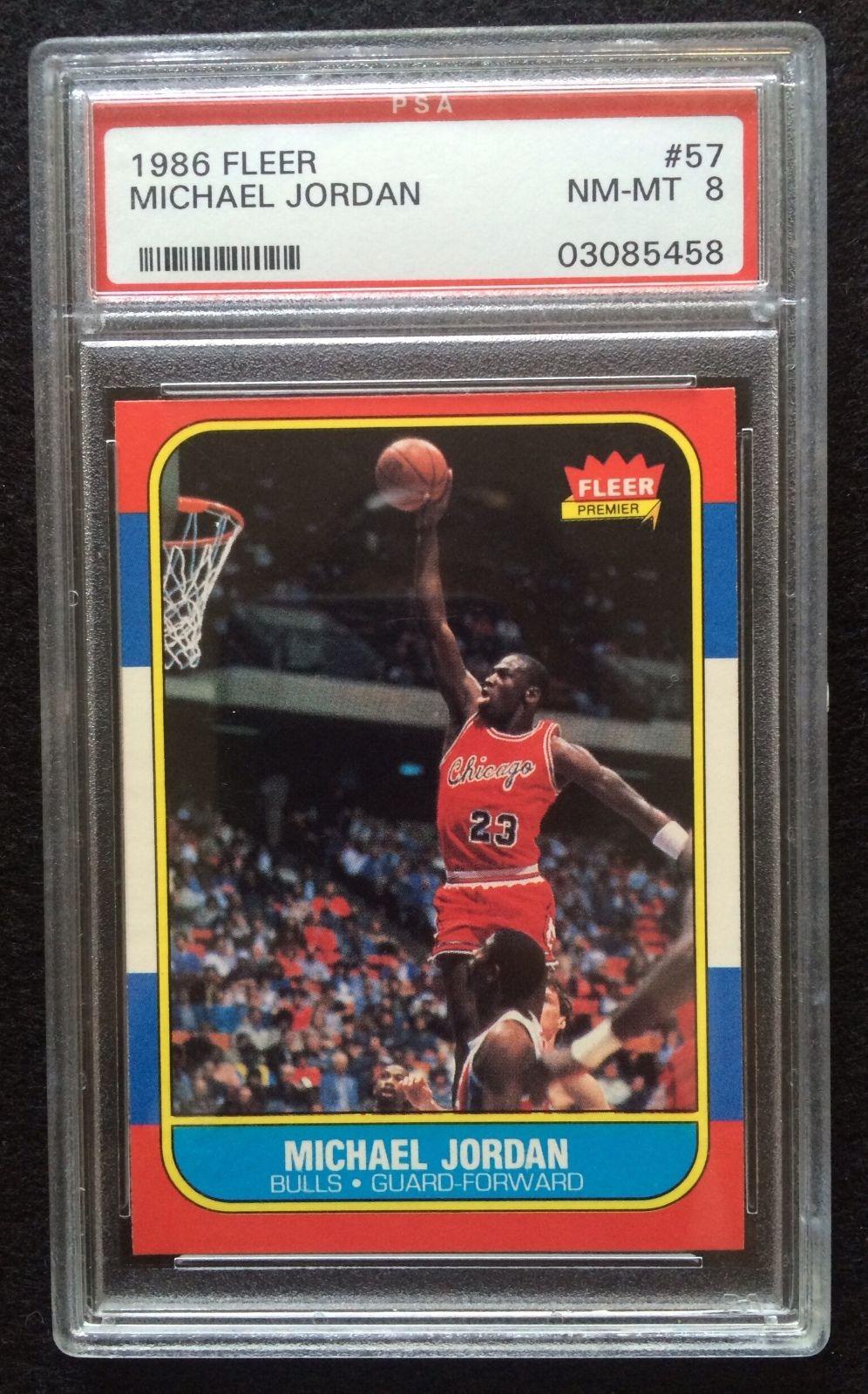 1986  1987 Fleer Michael Jordan Chicago Bulls 57 Basketball Rookie Card PSA 8