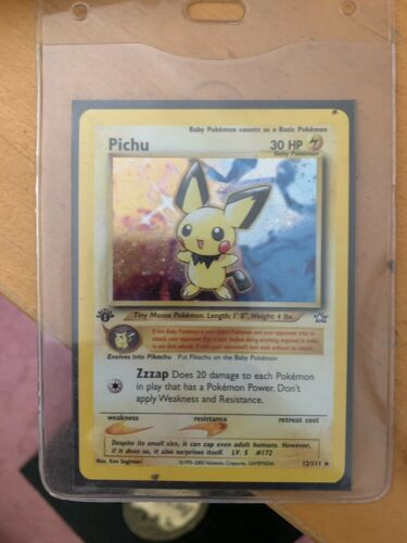 pokemon First Editon Neo Gen 2 Pichu Card Made By Wizards Of Coast