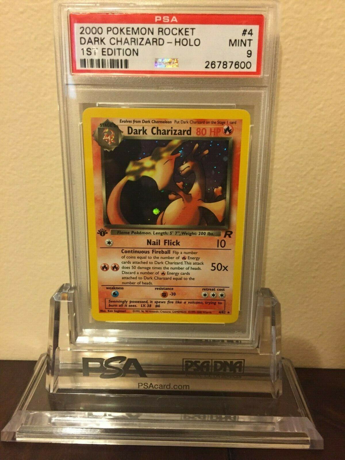 Pokemon Dark Charizard Team Rocket 1st Edition Holo Card PSA Mint 9 4