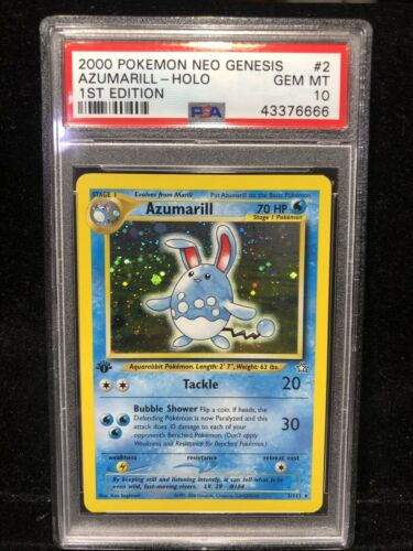 2000 Pokemon Neo Genesis Azumarill 1st First Edition Holo 2 Card PSA 10 GEM